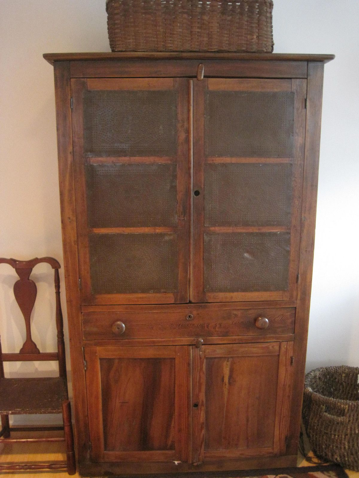 """Antique 1800S """"EARLY"""" TALL 12 TIN PANEL Center Drawer CUPBOARD FOOD"""