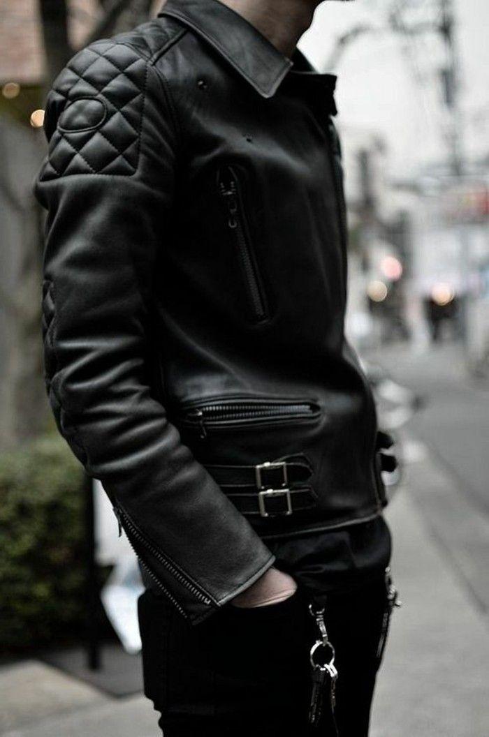 Veste en cuir homme moins cher
