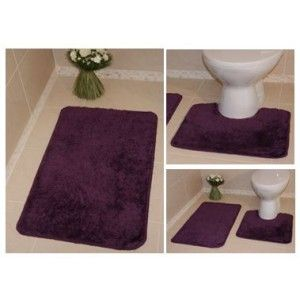 A Dark Purple Shaggy Piece Which Comes In A Set 00 Machine Washable This Mat Has A Non Slip Backing So Toilet Bath Mat Bathroom Rugs Washable Bathroom Rugs