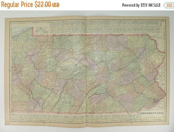 Pennsylvania Map Ohio Indiana Map Vintage Wall Map St - Us map ohio indiana