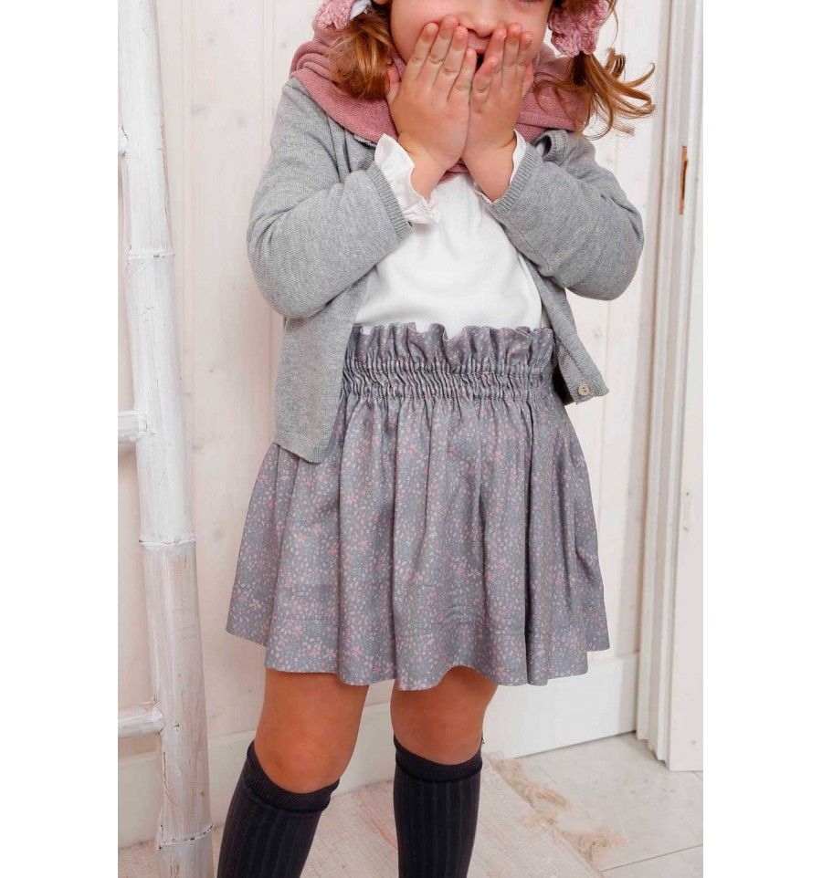 7f466f1be falda nina invierno gomas estampada gris rosa athina | Moda niña ...