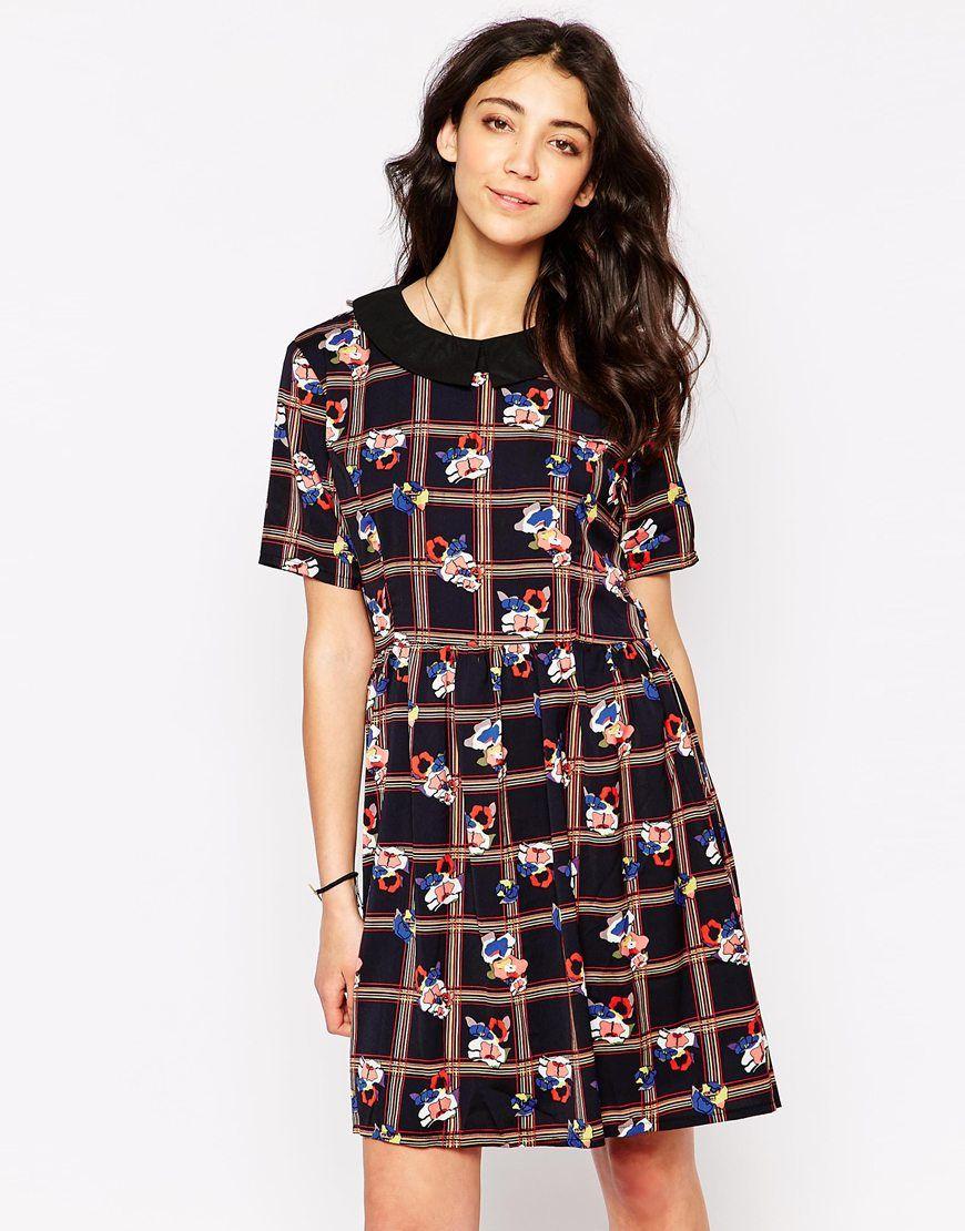 Iska Shift Dress in Floral Grid Print