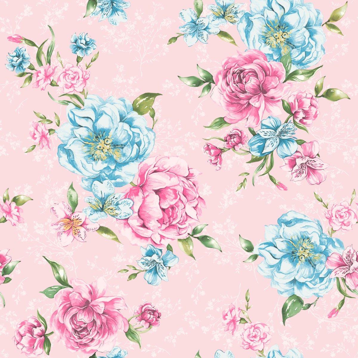 Josephine Floral Wallpaper Pink Blue 98864 Wallpaper Pink And Blue Floral Wallpaper Blue Floral Wallpaper