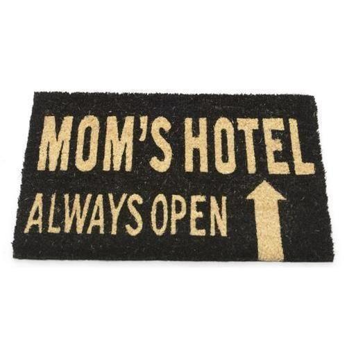 """Mom's Hotel Always Open Decorative Black and Brown Coir Welcome Door Mat 24"""" x 16"""""""