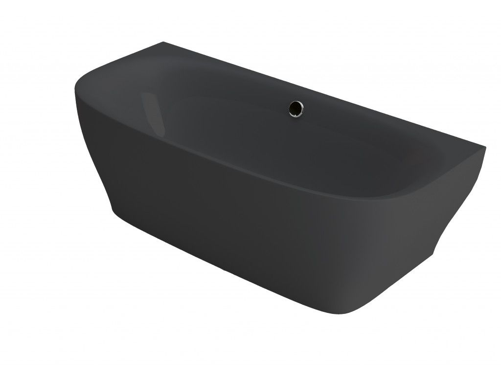 Half Vrijstaand Bad Zwart.Xenz Dion Half Vrijstaand Bad 180x80 Cm Zwart Glans