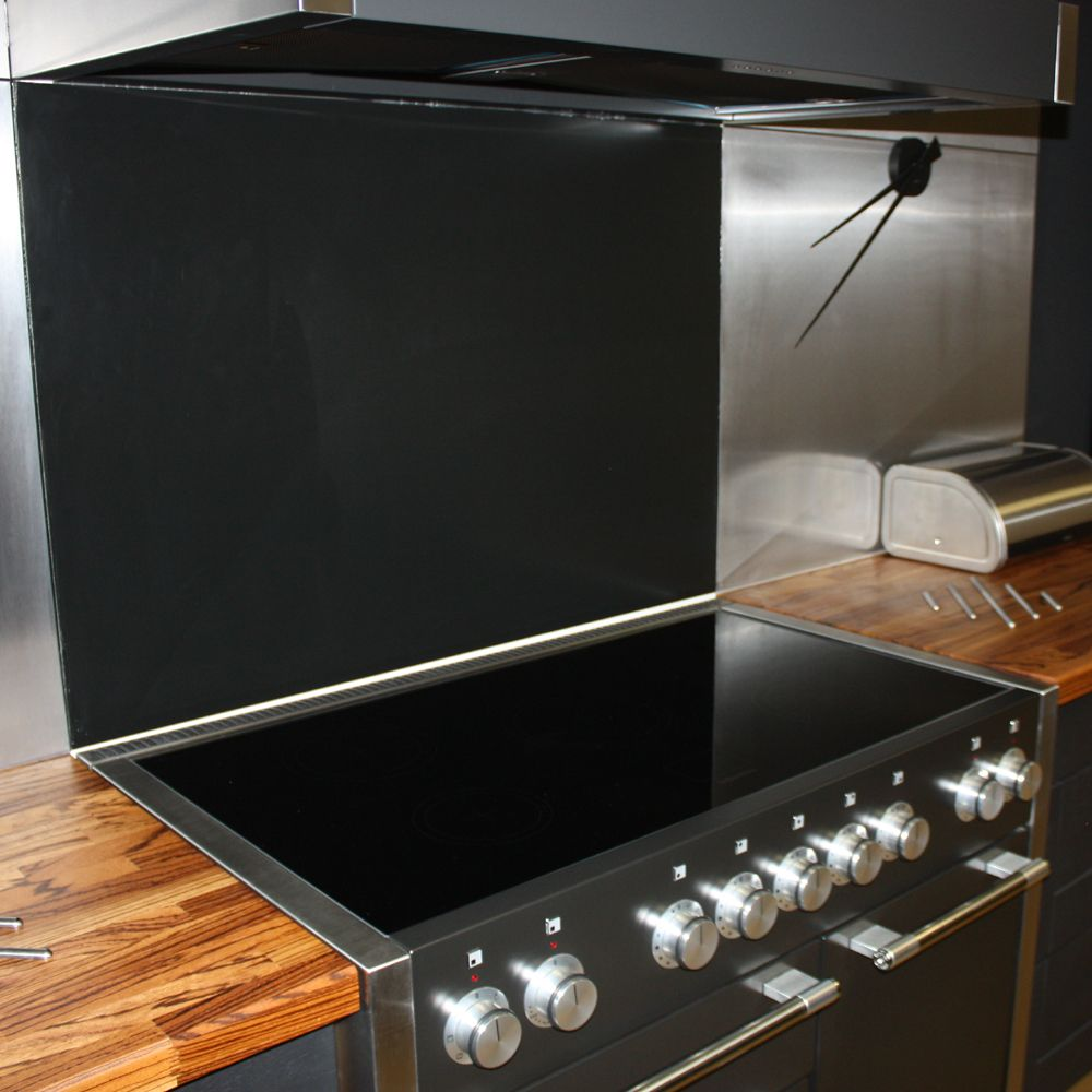 Black Stainless Steel Splashback With Matching Mercury 1082 Induction Oven  In This Super Modern Kitchen On Display In Our Gloucester Showroom: ...