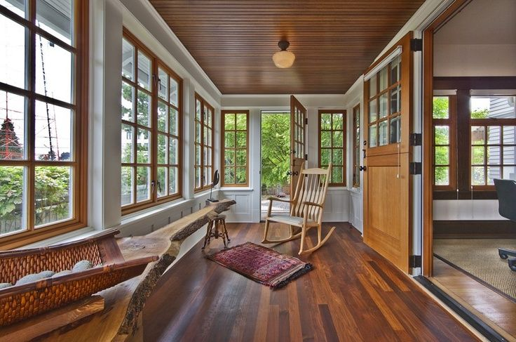 Beautiful Sunroom With Gorgeous Wood Trim Windows For The Home