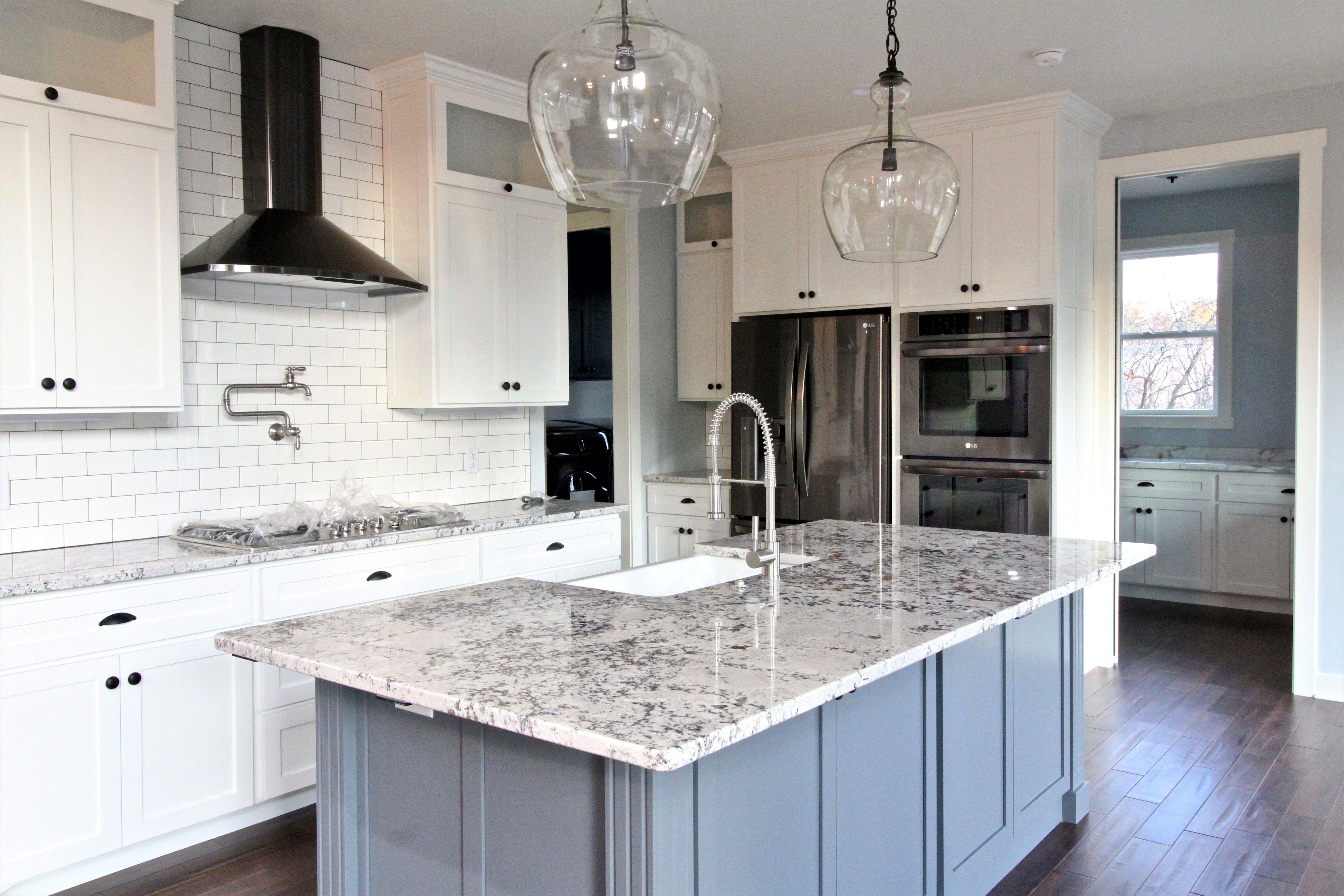 Kitchen, Grey island, white black stainless