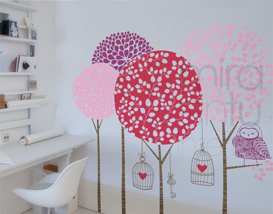 Vinilo infantil y juvenil vinilo arboles vinilo con for Vinilos decorativos dormitorios juveniles
