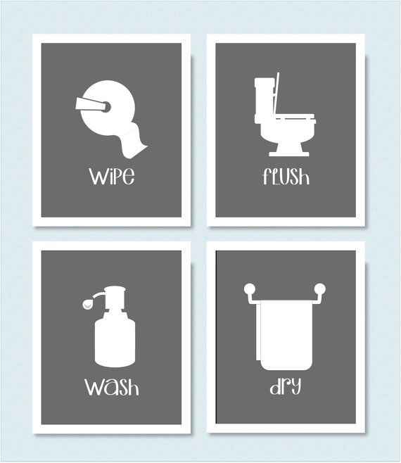 Captivating Wipe Flush Wash Dry Bathroom Prints Set Of 4 By CoCoStineDesigns, $50.00