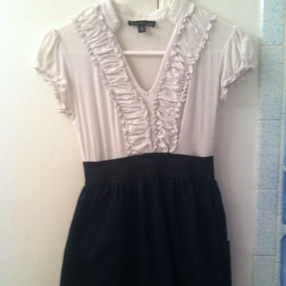 Navy and white collared dress! Youthful, classy, cute! Can't go wrong with a simple dress! City Triangles Dresses Midi