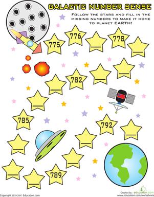 Fill In the Missing Numbers: Galactic Number Sense   Kindergarten ...