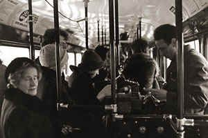 Rahastaja ja matkustajia 1970-luvun puolivälissä.