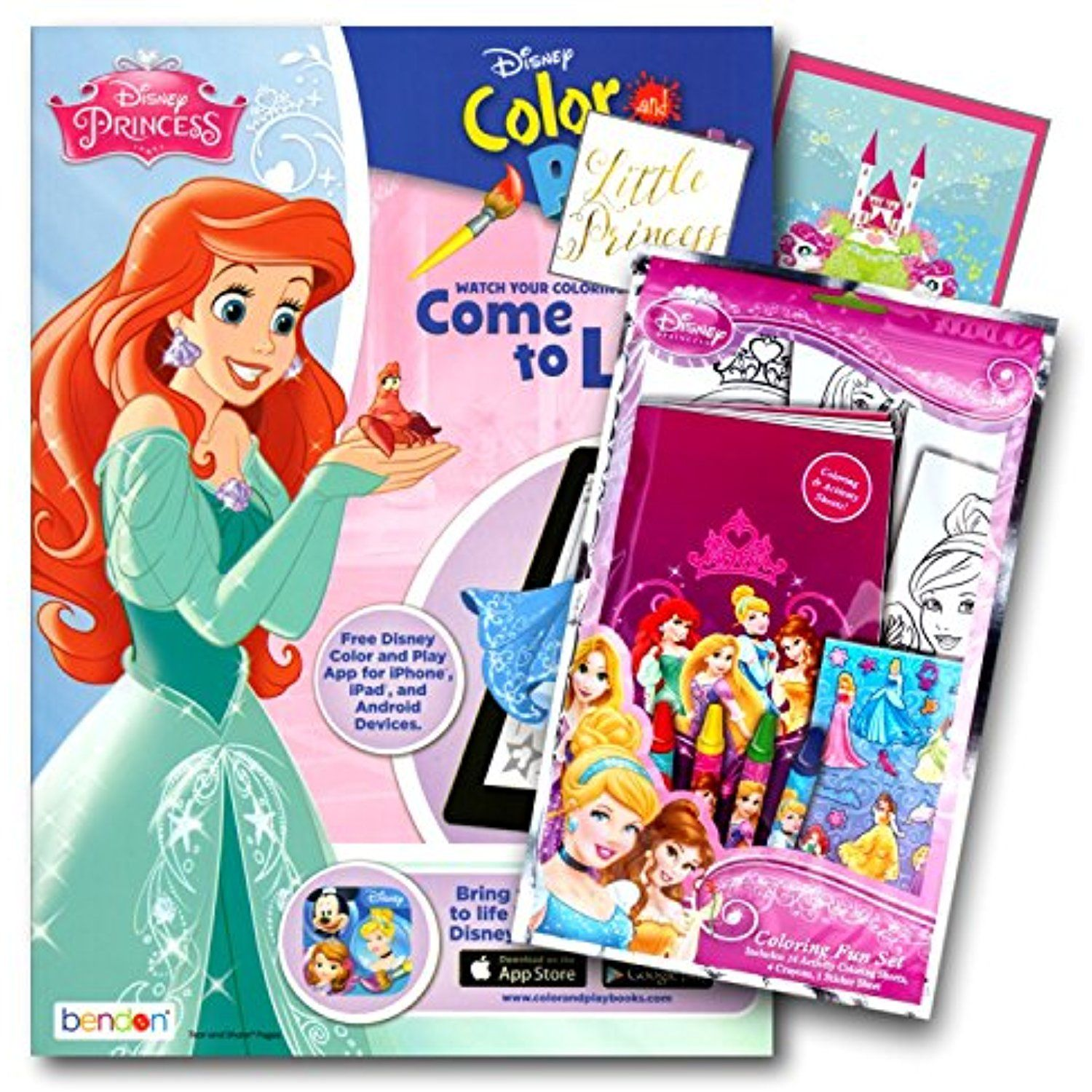 Disney Princess Coloring Book Pack With Stickers Crayons And Activity Bundled 2 Separately Licensed GWW Specialty Reward
