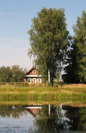 Russian wooden house in the countryside.