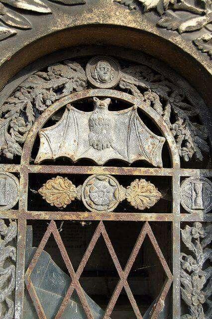 Bat detail on a crypt door