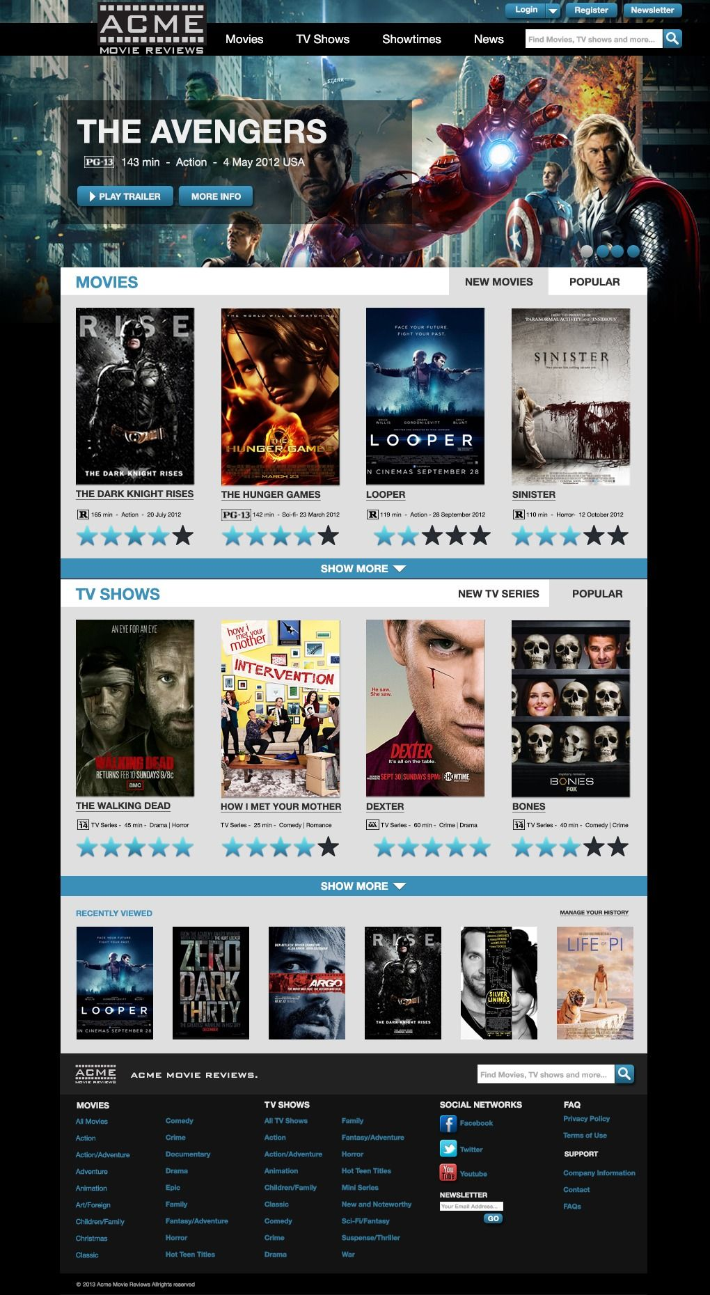 Movie Review Website Free Psd Template  Free Psd Templates