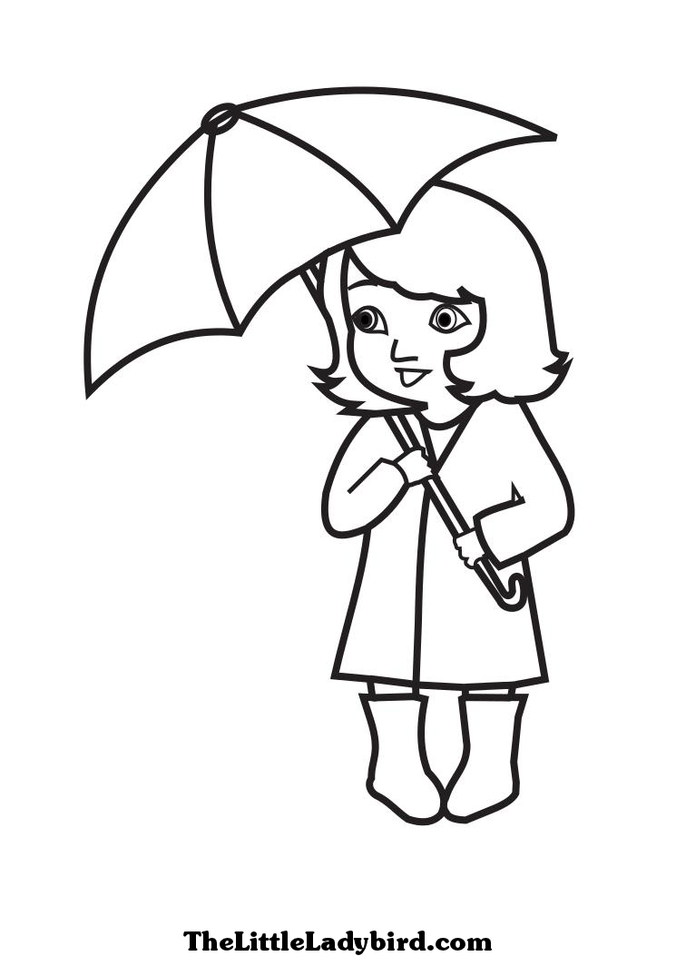 girl with umbrella drawing under umbrella girl colouring umbrella coloring page