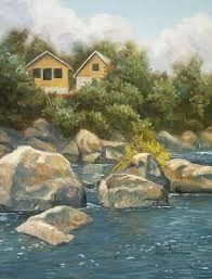 رسم مناظر طبيعية River Painting Painting Landscape
