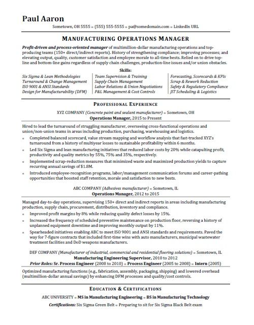 Operations Manager Resume Sample Operations Management Manager Resume Project Manager Resume