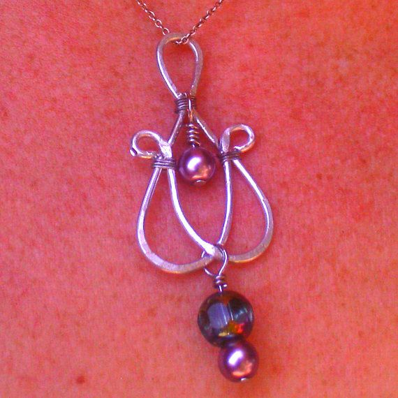 Celtic Knot Heart Teal Glass & Lilac Pearl by ElementalKarma, $10.00
