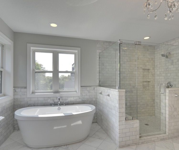 Half Height Tiled Wall Next To Tub