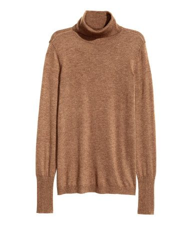 Fine-knit Turtleneck Sweater | Brown melange | Ladies | H&M US ...