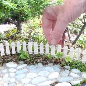 Miniature Garden Miniature White Picket Fence With Stakes