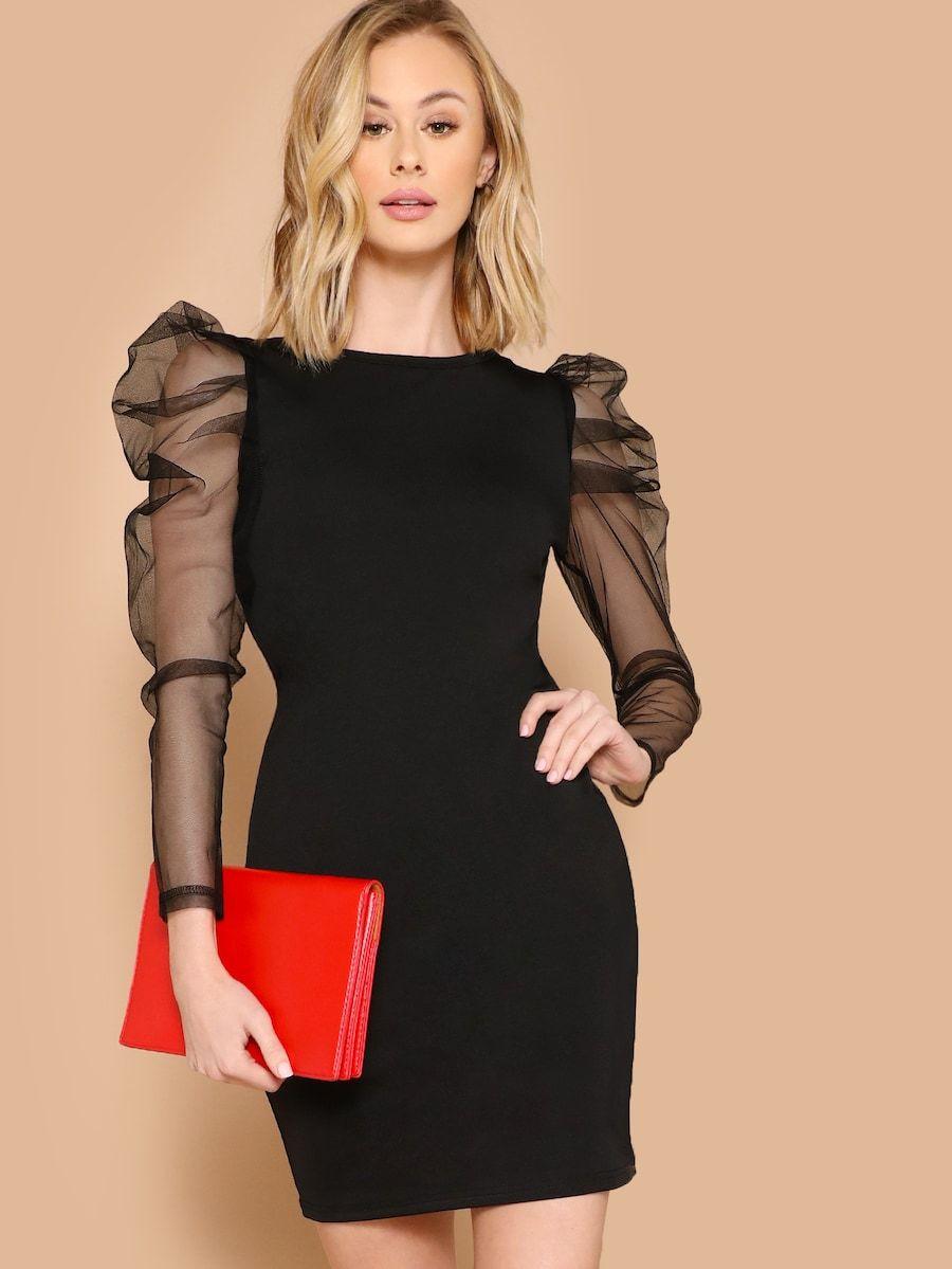 Sheer Mesh Gigot Sleeve Pencil Dress Shein Bodycon Dress With Sleeves Sheer Bodycon Dress Bodycon Dress [ 1199 x 900 Pixel ]