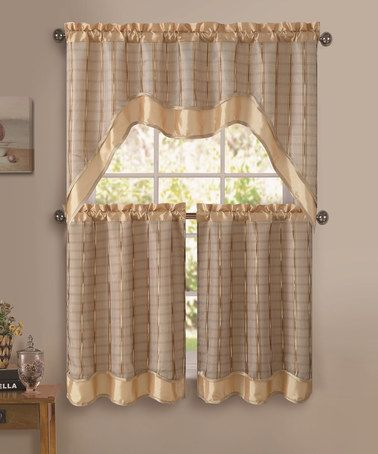 Beige Gold Sabrina Kitchen Curtain Valance Set Kitchen Curtain Sets Curtains Valance Curtains