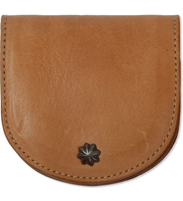 "Beige ""Deville"" Leather Coin Case"