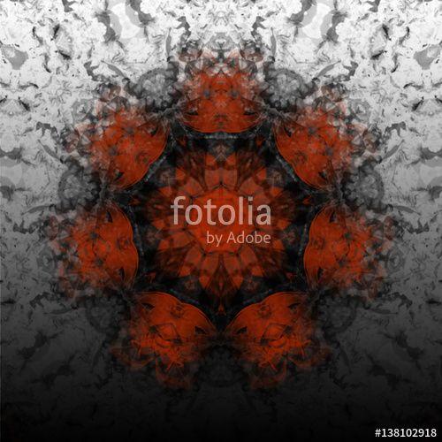 Mandala 94 mit optischen Effekten, Rot, Schwarz auf silber grauen Hintergrund, Vögel, Masken, Blüten, Sprenkel, Muster, Ornament, Gefühle, Emotionen, Spannung, Geheimnis, Stimmung, Ritual, Erotik