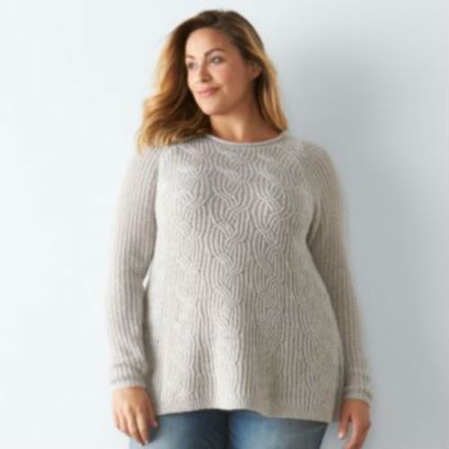 8d5cb72c29 Plus Size Women SONOMA Goods for Life Cable-Knit Swing Sweater 1X  Sonoma   WrapSwing
