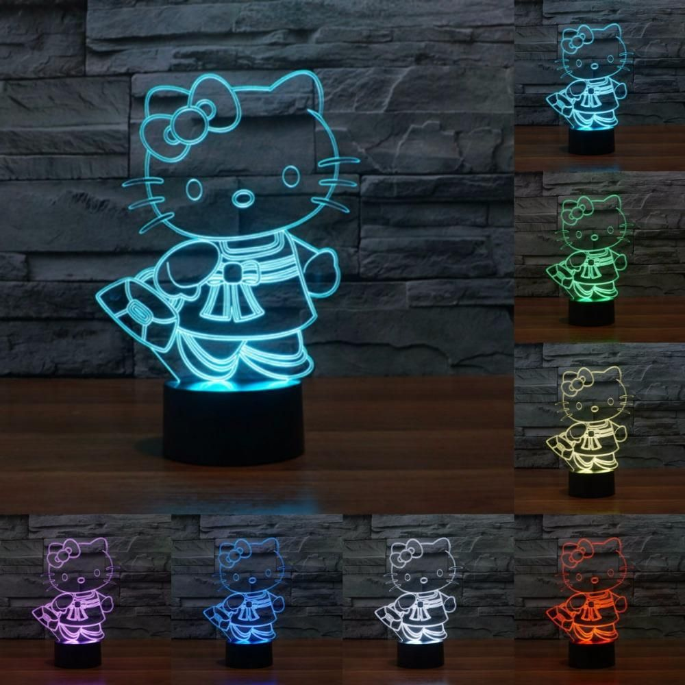 Hello Kitty 3D Illusion LED Lamp | Anime merchandise, 3d