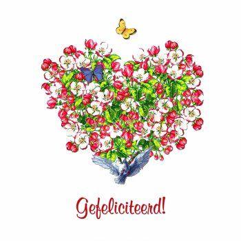 gefeliciteerd bloemen hart