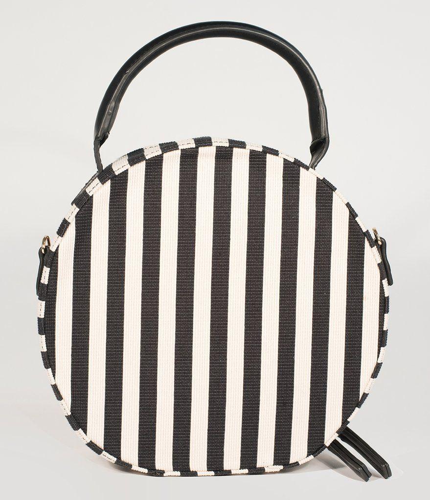 Retro Style Black   White Stripe Fabric Round Handbag