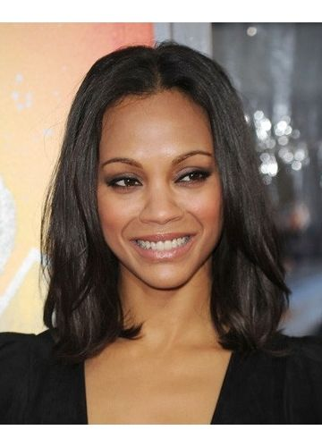 Centre Parting Mid Length Black Women S Hair Sleek And Smooth