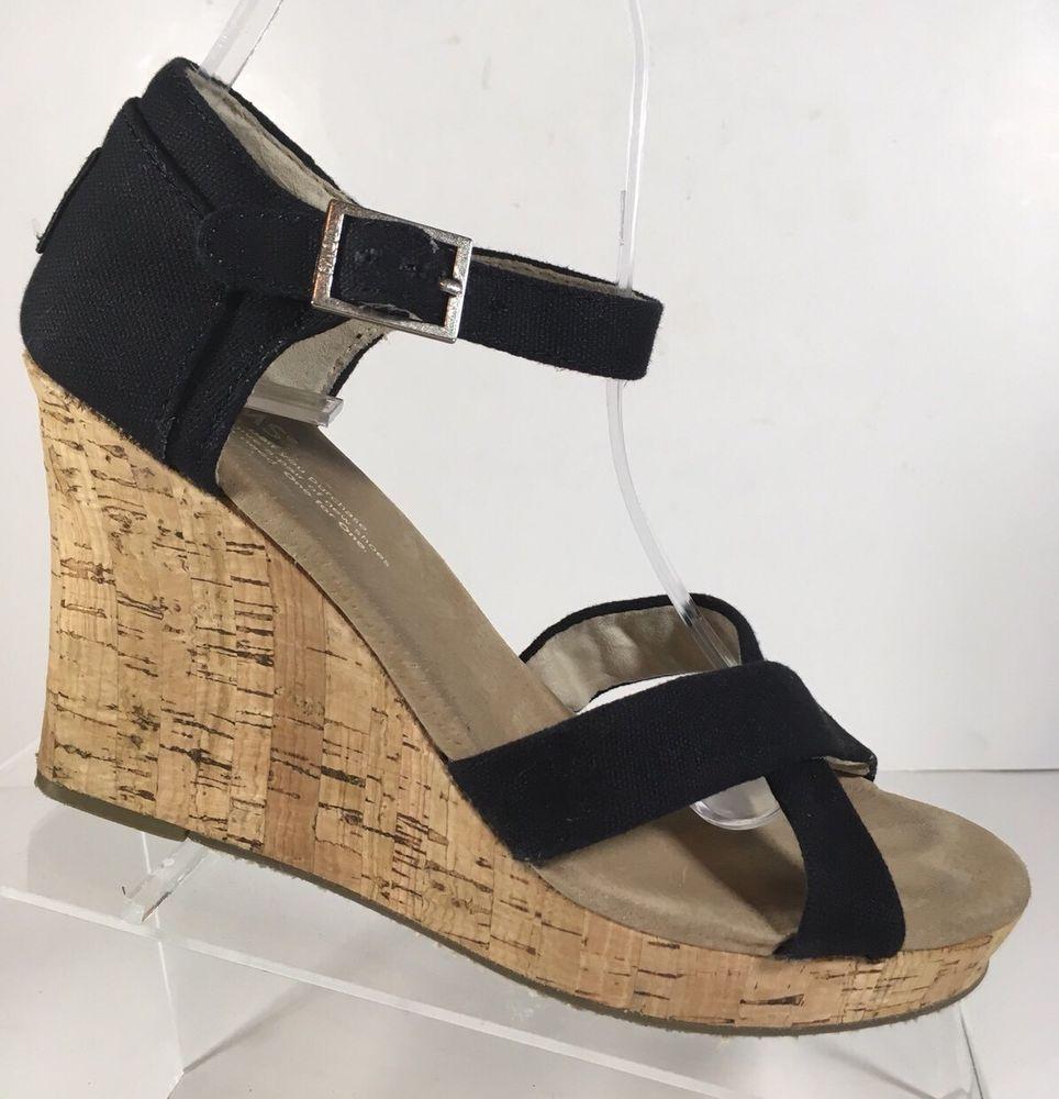 8d7915e9401 Toms Size 8 Black Canvas Platform wedge heels Strappy shoes  Canvas   PlatformsWedges  Casual