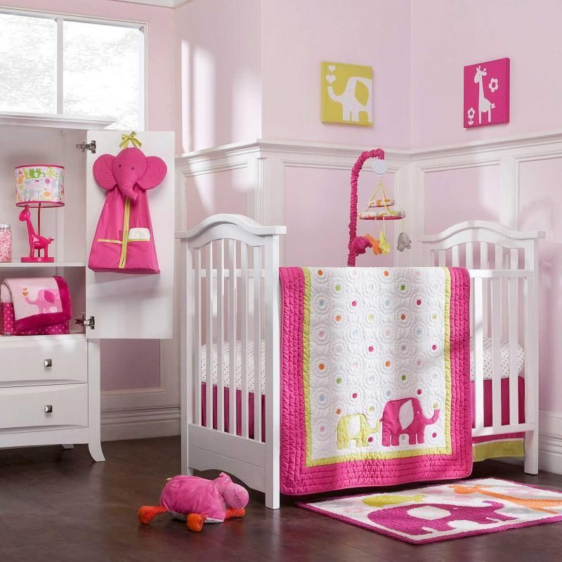 pink green elephant baby girl 4p white giraffe nursery jungle crib