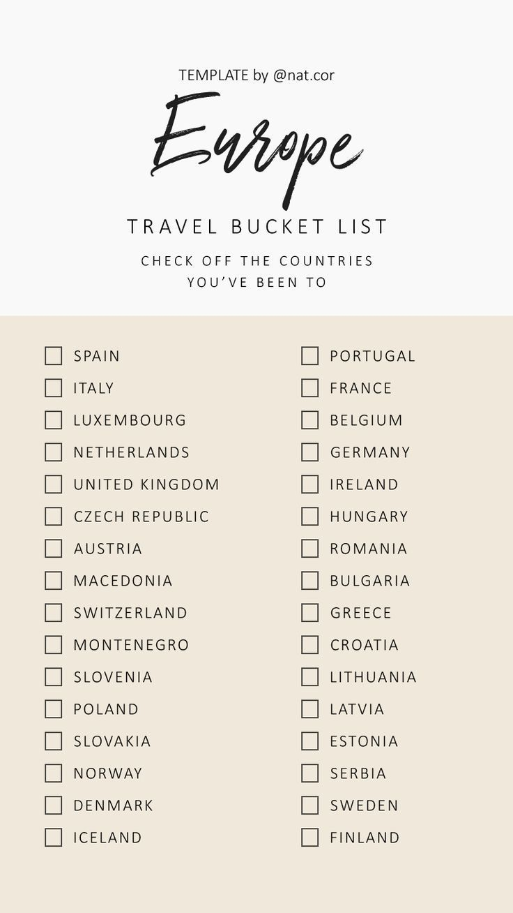 Lista de viaje de Europa #travel
