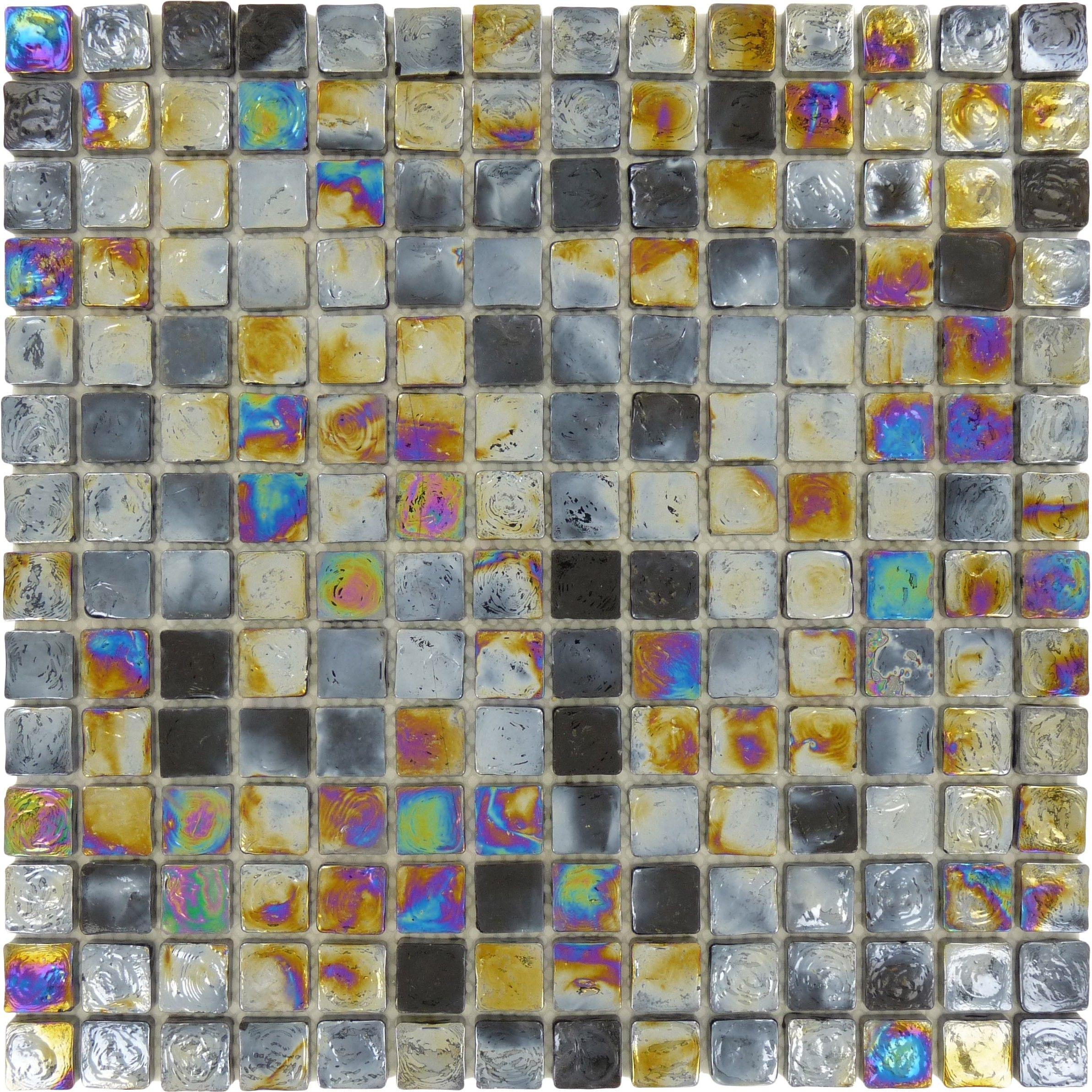 Sheet Size 12 X 12 Tile Size 3 4 X 3 4 Tiles Per Sheet 196 Tile Thickness 1 4 Grout Joints 1 Iridescent Tile Square Tile Black Glass