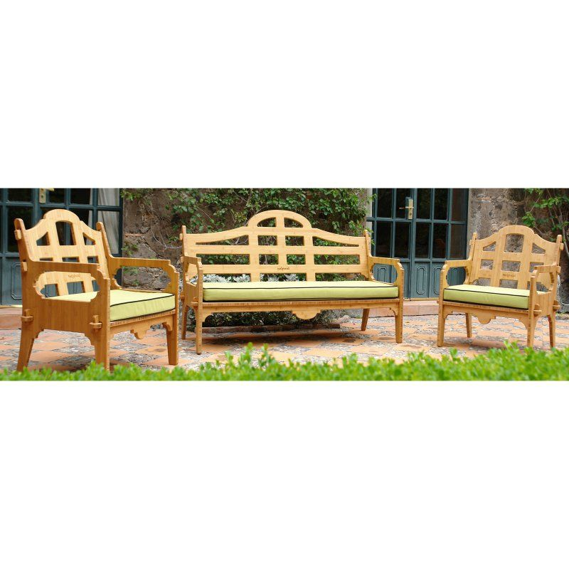 Outdoor Wedgewood Furniture Palladian Bamboo 3 Piece Patio Conversation Set - GPSO1LC2