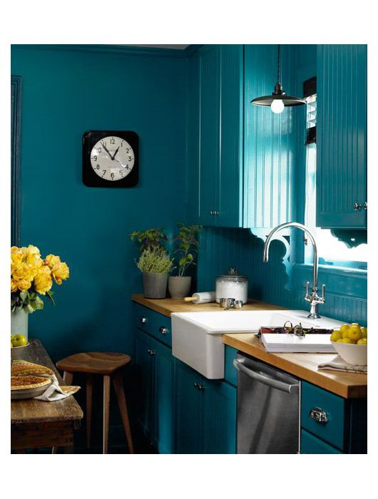 cuisine bleu canard id es d coration cuisine bleue kitchen pinterest cuisine bleu canard. Black Bedroom Furniture Sets. Home Design Ideas