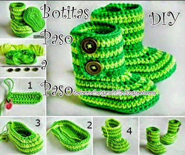 Cómo tejer botas de bebe paso a paso | Flores De Tela | Pinterest ...