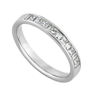 Platinum 050 Carat Princess Cut And Baguette Diamond Eternity Ring Fraser Hart GBP