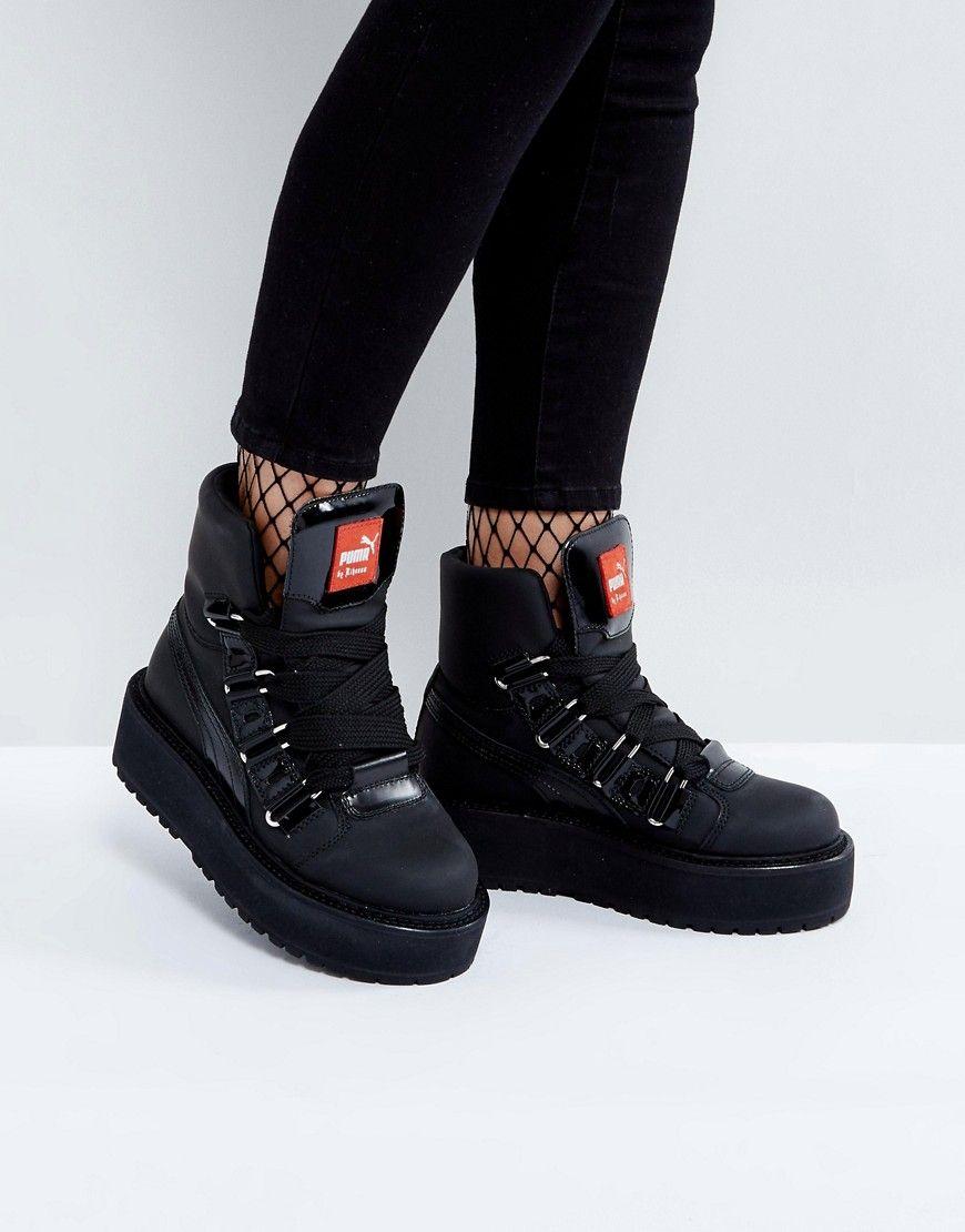 Puma x Fenty By Rihanna SB Eyelet Flatform Boot - Black c8176a5f5