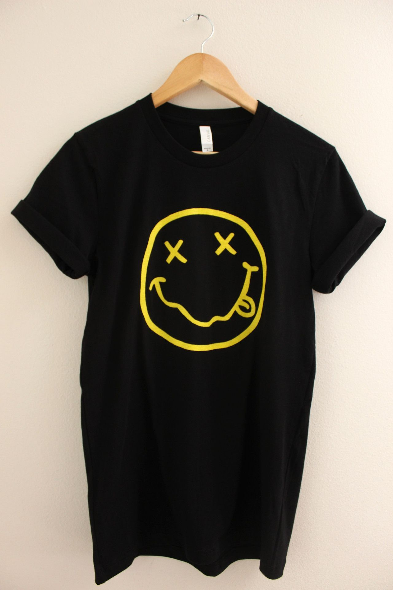 Black t shirt with design - Nirvana Smiley Face Black Graphic Unisex Tee