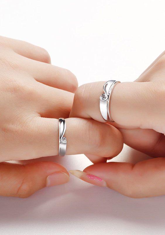 CZ Diamond Half Heart Promise Ring x 2 for Couples Heart promise