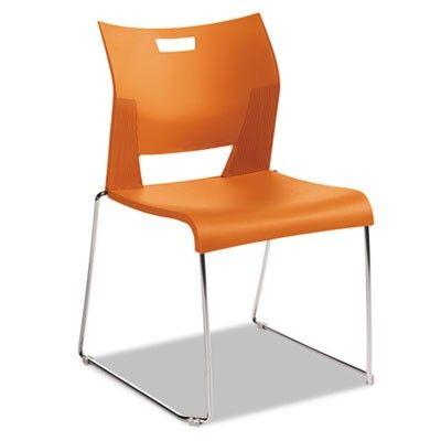 Global Duet Series Stacking Chair, Polypropylend, Orange, 4 Chairs/Carton