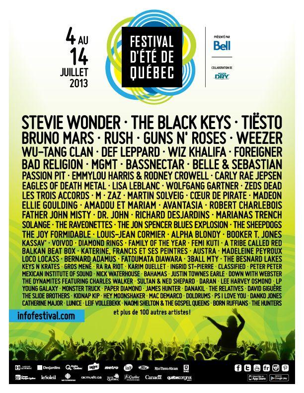 Programmation 2013 du Festival d'été de Québec! / Our 2013 lineup!